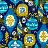 Vector nahtloses Muster mit Symbolen des neuen Jahres und des Weihnachten Lizenzfreies Stockfoto