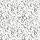 Vector nahtloses Muster mit Tonwaren- und Küchengeräten lizenzfreie abbildung
