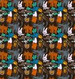 Vector nahtloses Muster mit unterschiedliche Hand gezeichneten Waldtieren und -vögeln Stockbild
