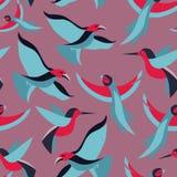 Vector nahtloses Muster mit Vögeln in der flachen Art Lizenzfreie Stockfotos