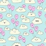 Vector nahtloses Muster mit Wolken und rosa Luftballon Glückliche Frühlingswolken fliegen Stockfoto