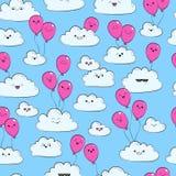Vector nahtloses Muster mit Wolken und rosa Luftballon Glückliche Frühlingswolken fliegen Lizenzfreies Stockbild