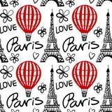 Vector nahtloses Muster-roten Ballon und Paris-Eiffelturm Vektor Abbildung
