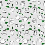 Vector nahtloses Muster - Tee, Kessel, Schale stock abbildung