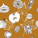 Vector nahtloses Muster von Äpfeln, von Pfeffern, von Zwiebeln und von Walnüssen Hand gezeichnete vektorabbildung lizenzfreie abbildung