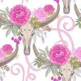 Vector nahtloses Muster von Blumen und von Büffel der Schädel c Lizenzfreies Stockfoto