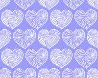 Vector nahtloses Muster von gezeichnetem Herzen des Gekritzels Hand Stockfotografie