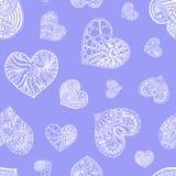 Vector nahtloses Muster von gezeichnetem Herzen des Gekritzels Hand Lizenzfreies Stockfoto