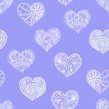 Vector nahtloses Muster von gezeichnetem Herzen des Gekritzels Hand Stockfoto