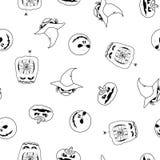 Vector nahtloses Muster von Halloween-Kürbisen, -geist und -monster Lizenzfreies Stockfoto