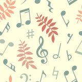 Vector nahtloses Muster von Musikanmerkungen und -blättern Stockbilder
