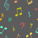 Vector nahtloses Muster von Musikanmerkungen und -ikonen Lizenzfreie Stockbilder