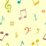 Vector nahtloses Muster von Musikanmerkungen und -ikonen Stockfotografie
