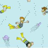 Vector nahtloses Muster von Schwimmern, von Quallen und von Blasen Lizenzfreie Stockfotografie