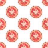 Vector nahtloses Muster von Tomatenscheiben auf weißem Hintergrund Stockbilder