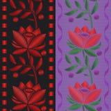 Vector nahtloses Musterband der Illustrationen mit roter Blumenrosenstickerei auf Textilhintergrund stock abbildung