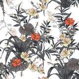 Vector nahtloses schönes künstlerisches helles tropisches Muster mit Stockfotografie