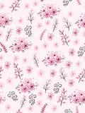 Vector nahtloses Valentinsgruß ` s Tagesliebesmuster von gezeichneten Niederlassungen und Blumen des Gekritzels Hand Stockfotografie