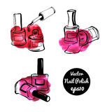 Vector nail polish bottles Royalty Free Stock Photos