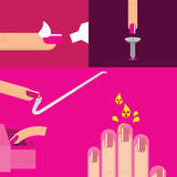 Vector Nails manicure Saloon Beauty care Stock Images