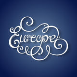 Vector Name of Continent, Europe Inscription. Hand Drawn Lettering Royalty Free Stock Image