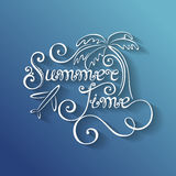 Vector Name of Season of the Year, Summer Time Inscription with Stock Photography