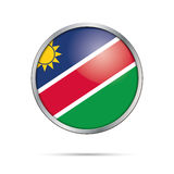 Vector Namibian flag button. Namibia flag in glass button style. Namibia flag glass button style with metal frame Royalty Free Stock Images