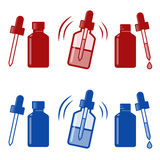 Vector nasal drops icon. Medical Nasal Drops Antiseptic Drugs Plastic Bottle icon royalty free illustration
