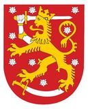 Vector national coat of arms of Finland. Vector national coat of arms of Finland, Original and simple Coat of arms of Finland flag isolated  in official colors Royalty Free Stock Photos