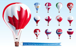 Vector  National Flags on hot air balloon Royalty Free Stock Photos