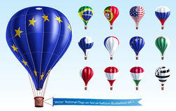 Vector  National Flags on hot air balloon Royalty Free Stock Photo