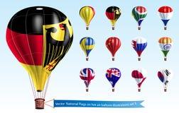 Vector  National Flags on hot air balloon Royalty Free Stock Photos
