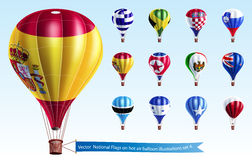 Vector  National Flags on hot air balloon Stock Images