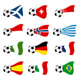 Vector national soccer flags Royalty Free Stock Images