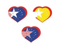 Vector national sweethearts with stars. 3 vector national stylised sweethearts with stars. USA. Catalonia. Euro Stock Image