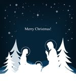 Vector nativity scene. Mary, Jesus, and Joseph silhouettes. And fir-trees background. Manger scene Stock Images