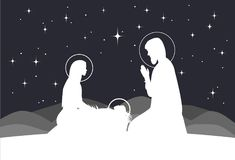 Vector nativity scene. Mary with Jesus, and Joseph silhouette. Vector nativity scene. Mary, Jesus, and Joseph silhouettes and mountains landscape Stock Images