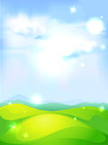 Vector natural background with blue sky green meadow. And shining abstract sun Stock Photo
