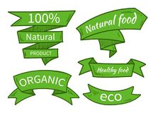Vector natural food, eco, organic product templates, badges, labels. Hand drawn ribbons. Vector illustration stock illustration
