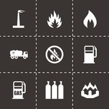 Vector natural gas icon set. On black background Stock Photos