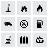 Vector natural gas icon set. On grey background Stock Photo