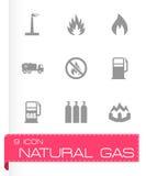 Vector natural gas icon set. On grey background Stock Photos