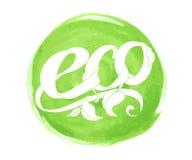Vector natural, organic food, bio, eco label on watercolor circle Royalty Free Stock Photo