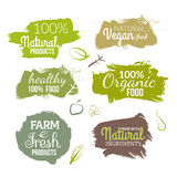 Vector natural organic food label. Farm products eco design watercolor style Stock Photo