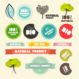 Vector Natural Product Flat Design Retro Labels. Tags - Stickers Set Stock Images