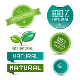Vector Natural Product Green Labels. Tags - Stickers Set Stock Photo