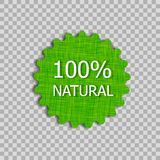 Vector Natural Product Tag, Linen Texture Badge on Transparent Background. stock illustration