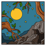 Vector nature background, colorful landscape with full moon. Royalty Free Stock Photos
