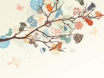 Vector nature background. Ornate tree branch, flowers and birds background. There is place for your text Stock Photo