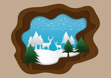 Vector nature and forest where the deer and wild animals live royalty free illustration